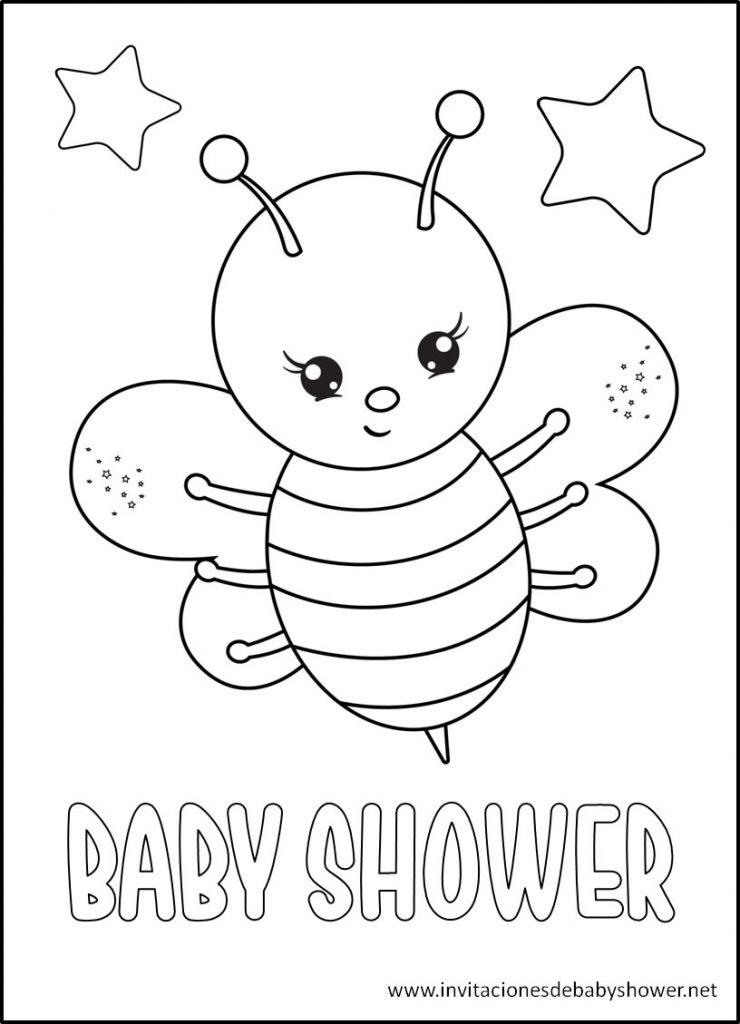 Baby Shower para colorear abejita