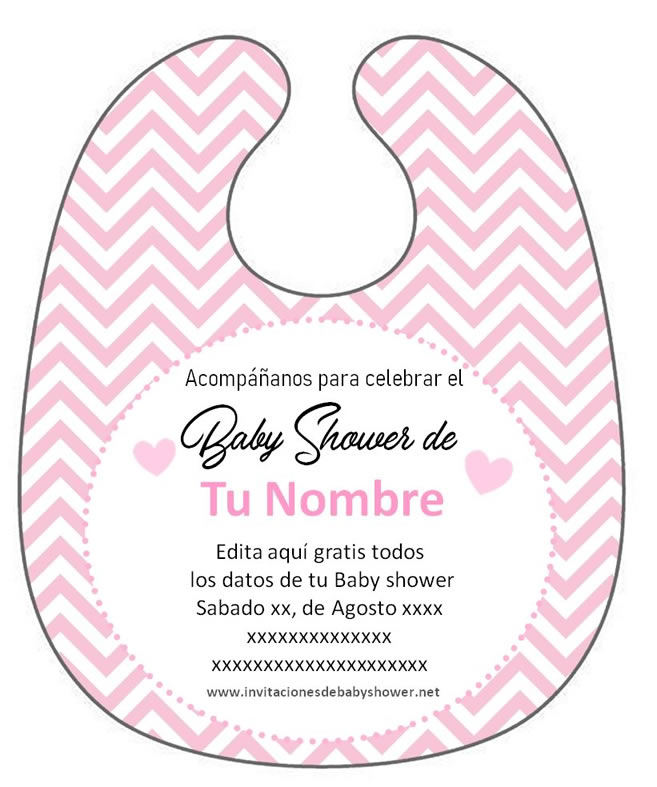 Invitación Baby Shower Babero para descargar Gratis