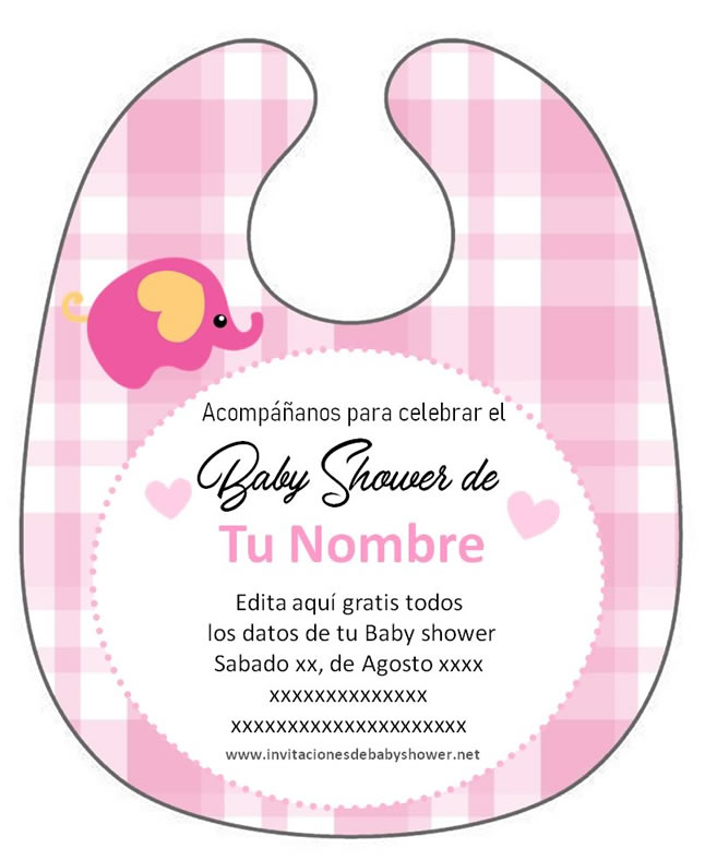 Invitación Babero Baby shower