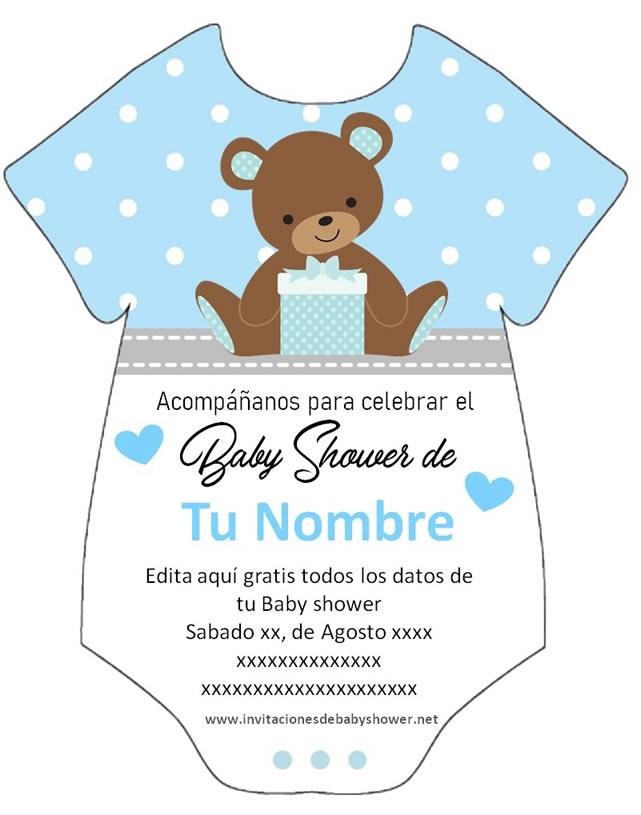 Invitación Baby Shower Pañalero Niño