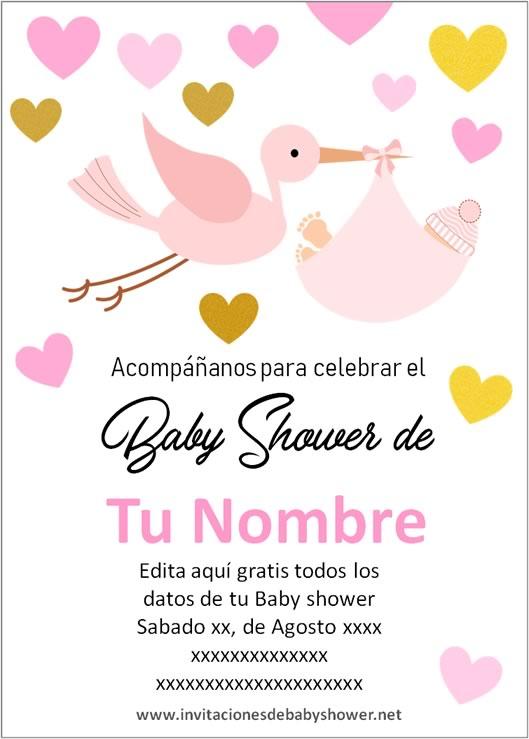 Invitaciones Baby Shower para Niña Cigüeña Corazones