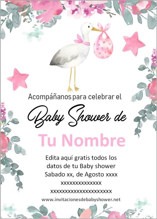 Invitación Baby Shower para Niña Cigüeña