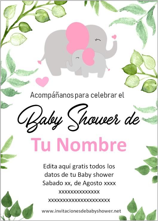 Invitaciones Baby Shower para Niña Elefante Elefantito
