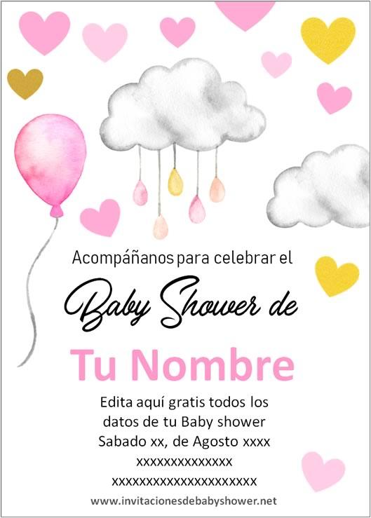 Invitaciones Baby Shower para Niña Nubes globos