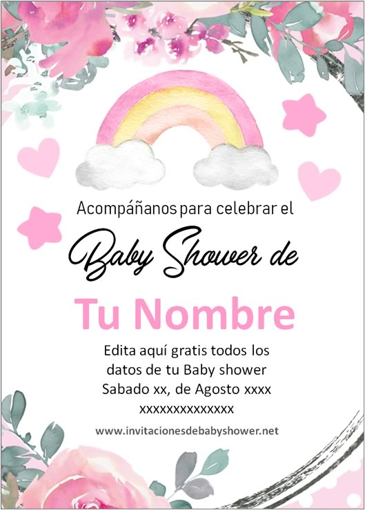Invitaciones Baby Shower para Niña Arcoiris