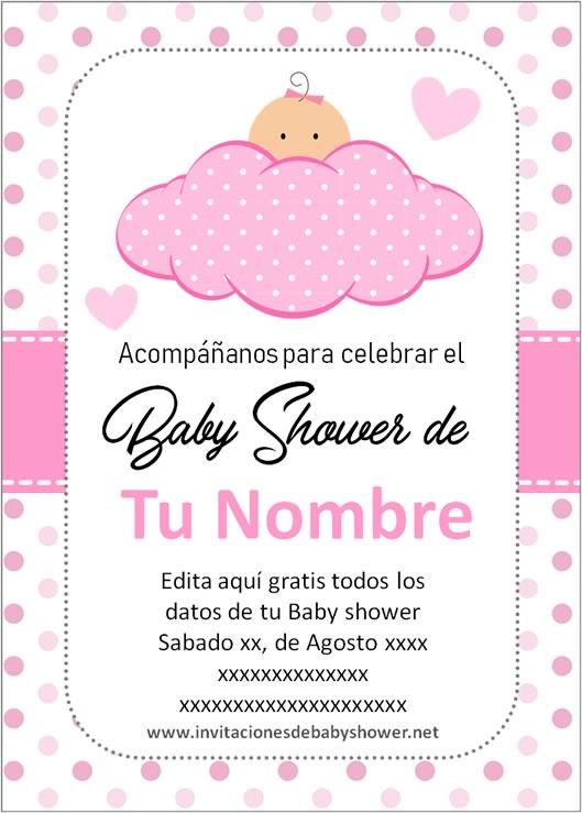 Invitaciones Baby Shower para Niña Bebe Rosa