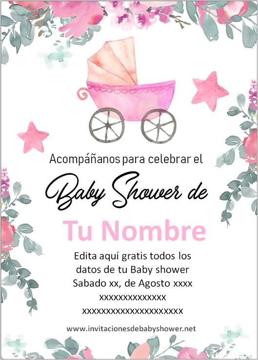 Invitaciones Baby Shower para Niña Carriola cochecito