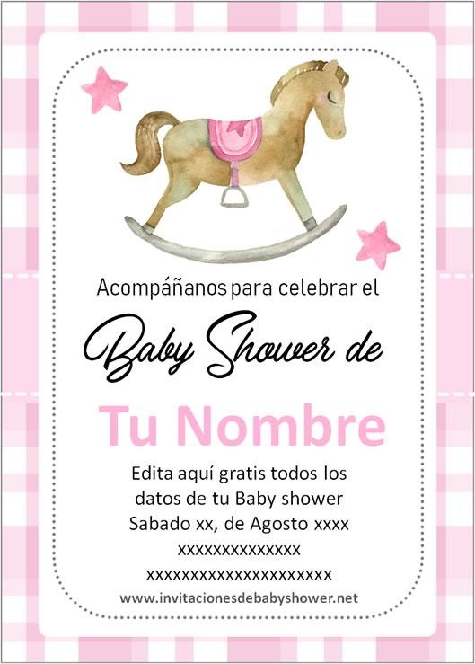 Invitaciones Baby Shower para Niña Caballito caballo