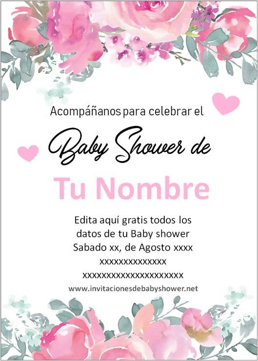 Invitaciones Baby Shower para Niña en español