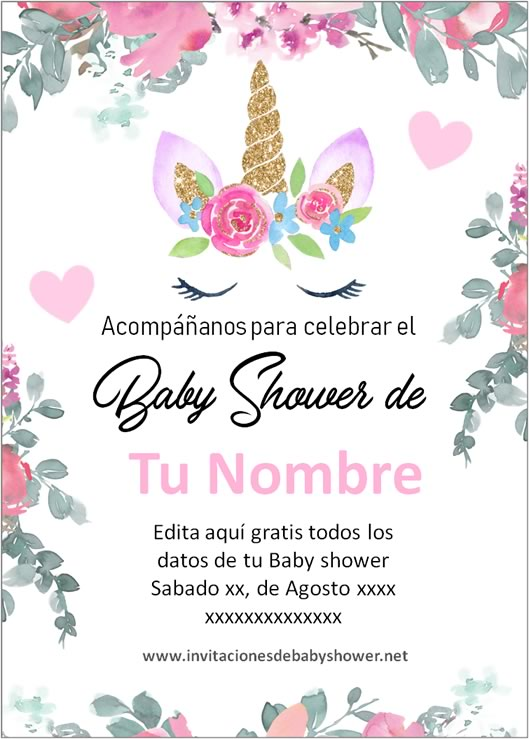 Invitación Baby Shower Niña Unicornio Flores