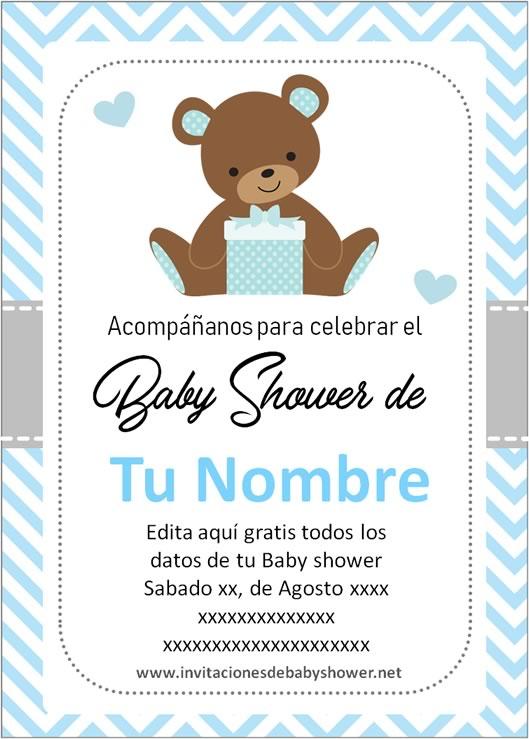 Invitaciones Baby Shower para Niño osito oso azul