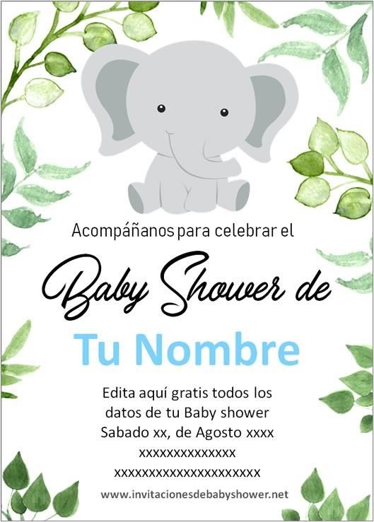 Invitaciones Baby Shower para Niño elefante elefantito azul
