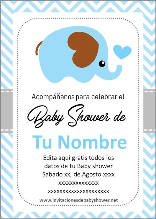 Invitaciones Baby Shower para Niño elefante elefantito azul 2