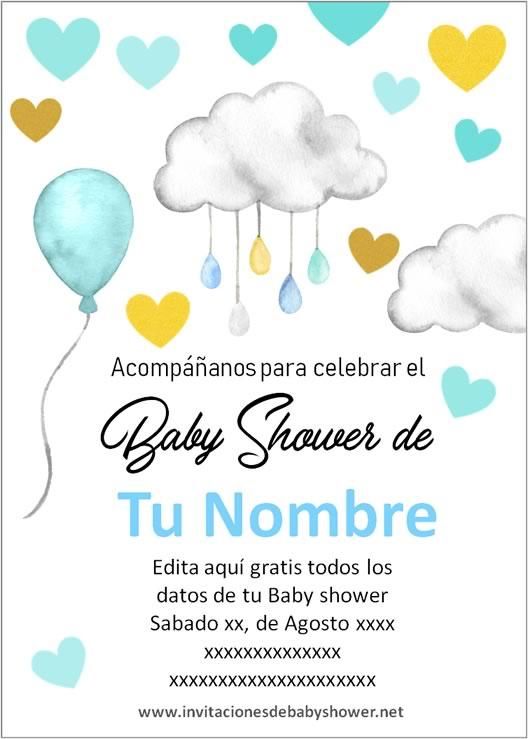 Invitaciones Baby Shower para Niño nubes y globos azul