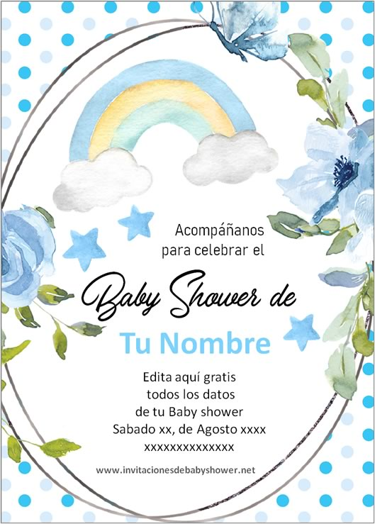 Invitaciones Baby Shower para Niño arcoris azul
