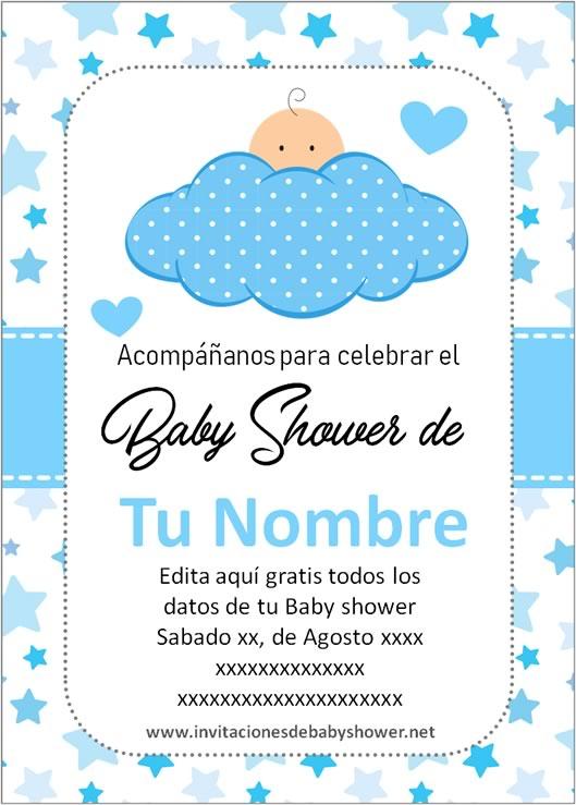 Invitaciones Baby Shower para Niño con nube azul