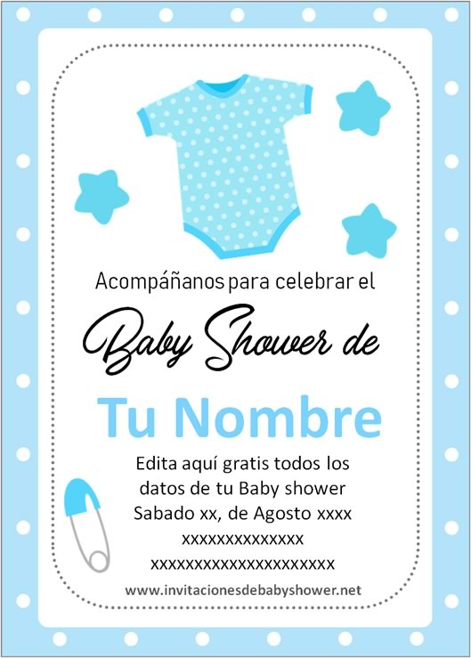 Invitaciones Baby Shower para Niño enterito ropa ropita azul