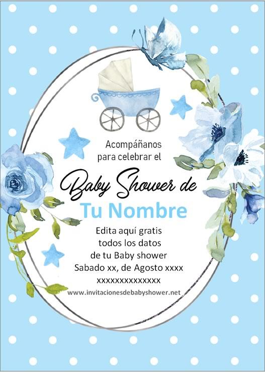 Invitaciones Baby Shower para Niño carreola cochecito coche azul