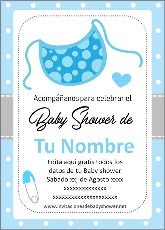 Invitaciones Baby Shower para Niño babero azul