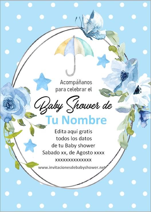 Invitaciones Baby Shower para Niño paraguas azul