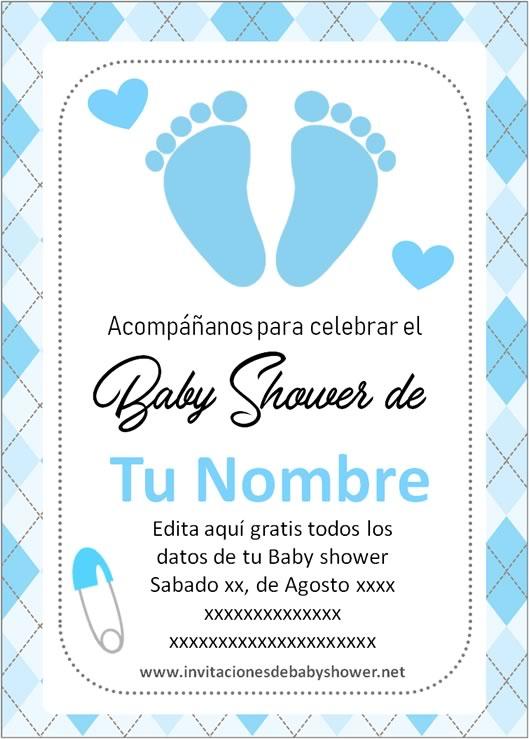 Invitaciones Baby Shower para Niño piecitos pies azul