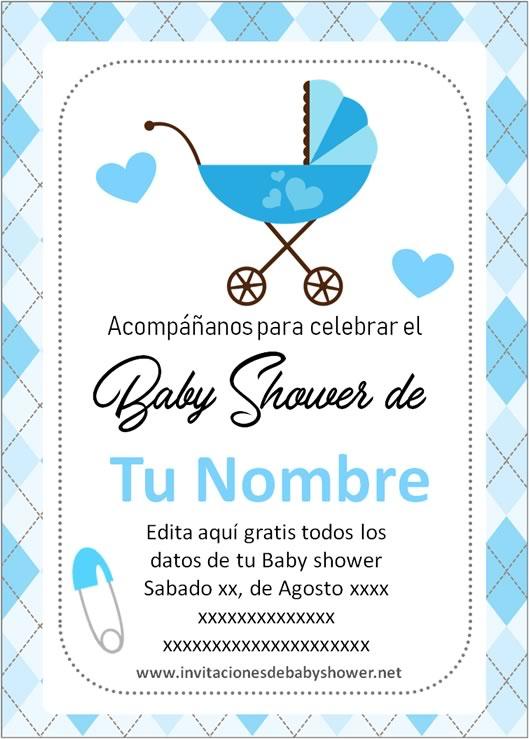 Invitaciones Baby Shower para Niño carreola cochecito azul