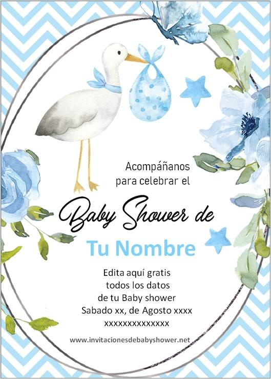 Invitaciones Baby Shower para Niño Cigüeña azul 2