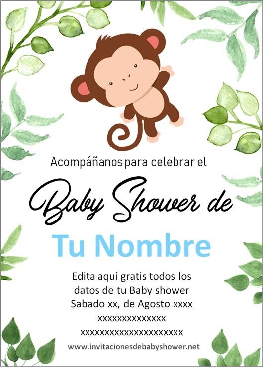 Invitaciones Baby Shower para Niño changuito mono monito azul