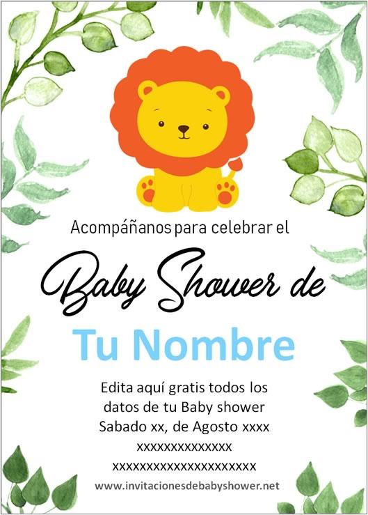 Invitaciones Baby Shower para Niño leon azul