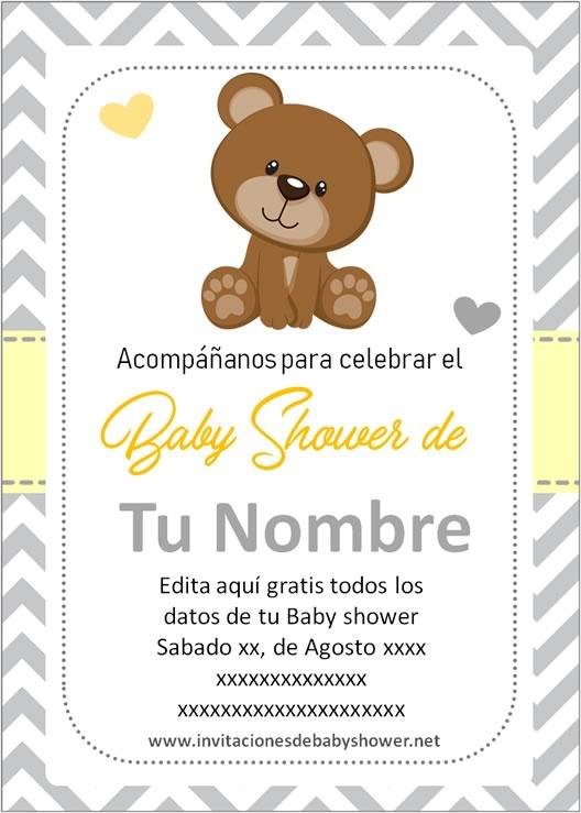 Invitaciones Baby Shower para Niño y Niña oso osito amarillo