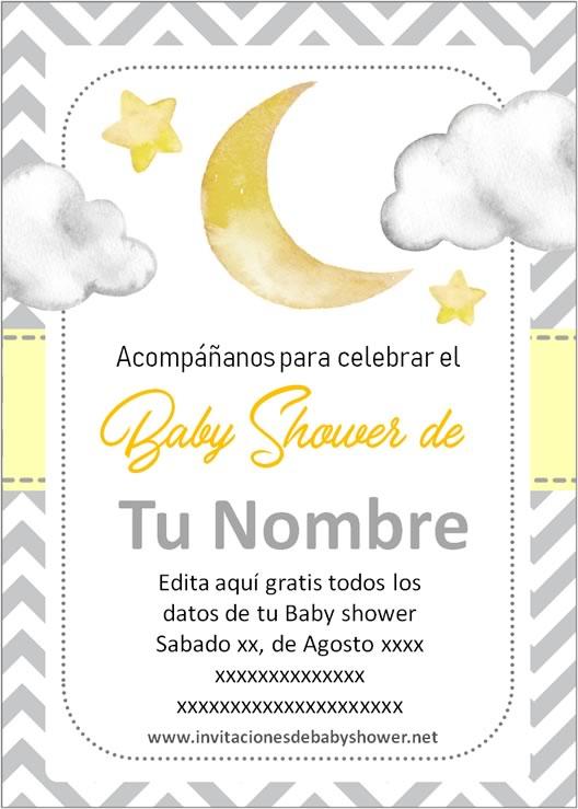 Invitaciones Baby Shower para Niño y Niña luna y estrellas amarillo