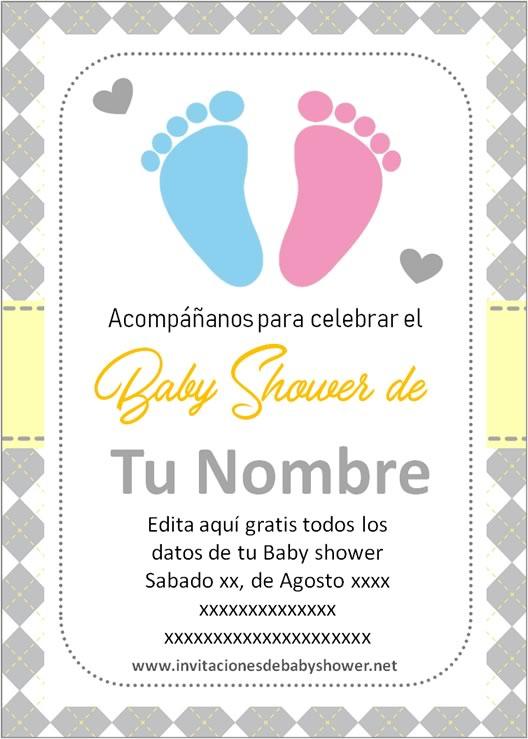 Invitaciones Baby Shower para Niño y Niña piecitos pies huellitas amarillo