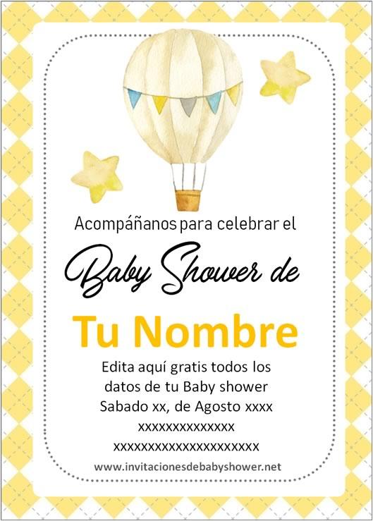 Invitaciones Baby Shower para Niño y Niña Globo aerostático amarillo