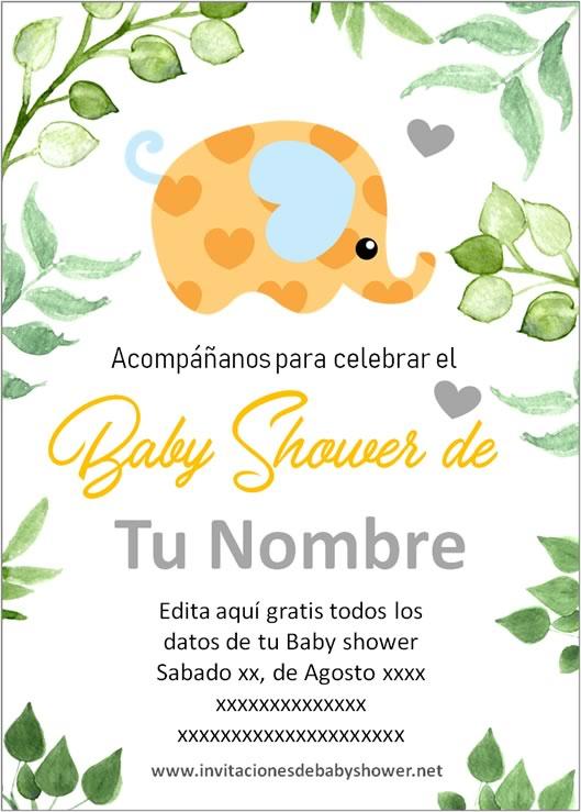 Invitaciones Baby Shower para Niño y Niña elefantes elefantitos amarillo