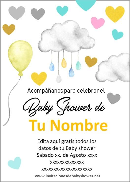 Invitaciones Baby Shower para Niño y Niña nubes globos amarillo