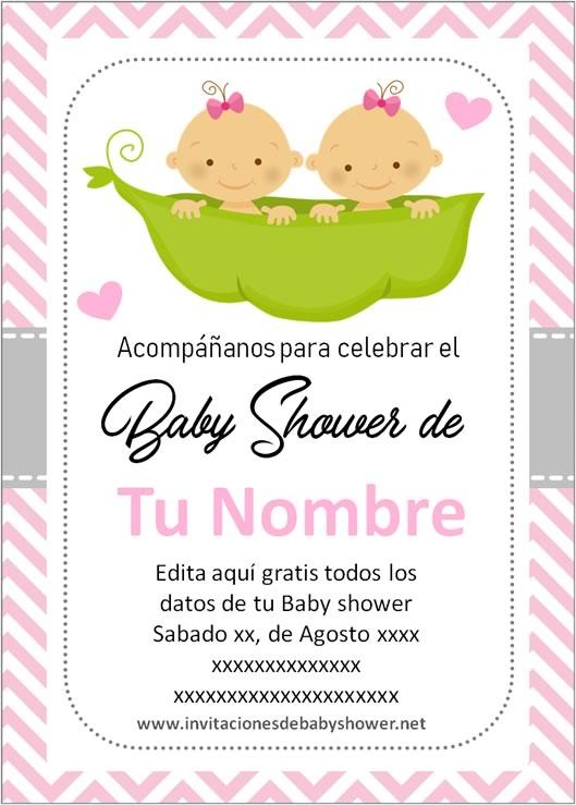 Invitaciones Baby Shower para Niñas gemelas o mellizas en rosa