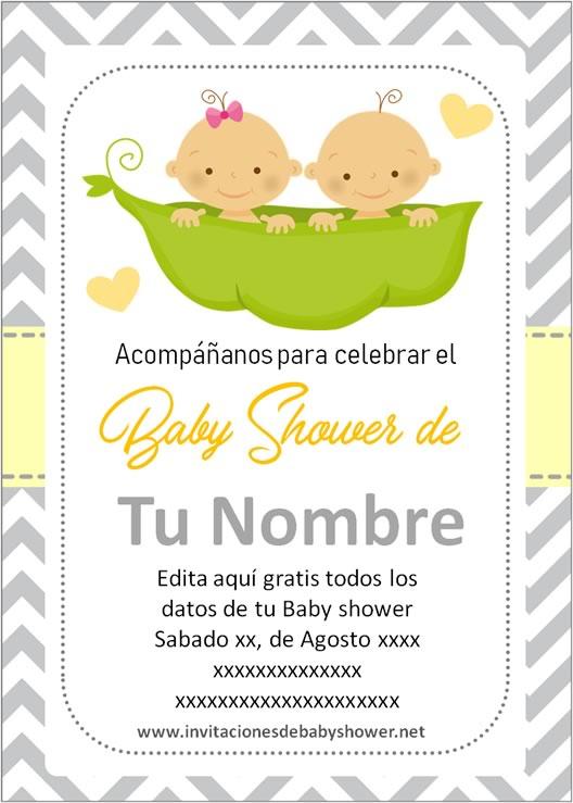 Invitaciones Baby Shower para Niñas o Niños gemelos o mellizos en amarillo