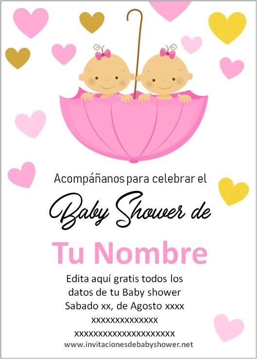 Invitaciones Baby Shower para Niñas gemelas o mellizas paraguas en rosa