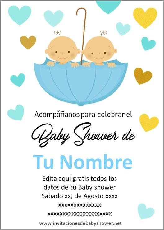 Invitaciones Baby Shower para Niños gemelos o mellizos paragua en azul