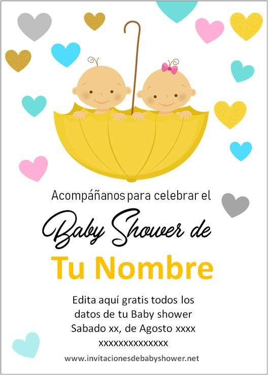 Invitaciones Baby Shower para Niños o Niñas gemelas o mellizas en amarillo