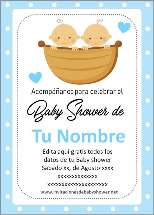 Invitaciones Baby Shower para Niños gemelos o mellizos en azul